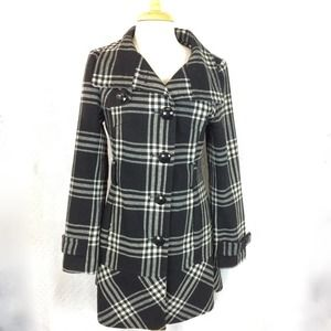 upcycled EXPRESS Mickey button plaid coat Sz S